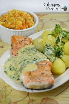 Łosoś w sosie śmietanowo - musztardowym z koperkiem. Fish Recipes, Lunch Recipes, Seafood Recipes, Vegetarian Recipes, Cooking Recipes, Healthy Recipes, Good Food, Yummy Food, Foods With Gluten