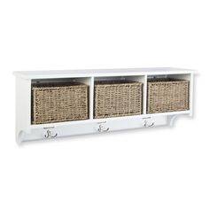 Above the changing table - Threshold Entryway Organizer Shelf with Seagrass Baskets, Hooks and Nameplates