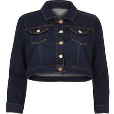 River Island Dark blue cropped denim jacket ($57) ❤ liked on Polyvore featuring outerwear, jackets, blue, coats / jackets, denim jackets, women, blue jean jacket, cropped jean jacket, long sleeve jean jacket and denim jacket