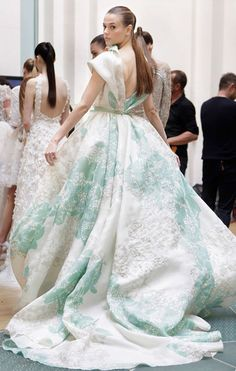 Luxurious back view of Elie Saab's ball gown from Elie Saab Spring 2012 Couture collection