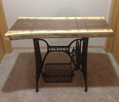 Black Walnut Singer sewing machine table by ChaseArnettDesign