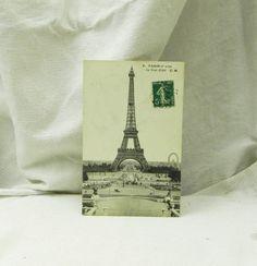 Antique French Black and White Postcard, Eiffel Tower, Paris / French Decor / Vintage Decor