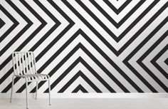 Black and White Striped Wallpaper Mural Geometric Wallpaper Murals, Lines Wallpaper, Pattern Wallpaper, Black And White Wallpaper, Black And White Lines, Striped Wallpaper, Accent Wall Bedroom, White Bedroom, Bedroom Pictures