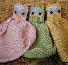 Free knitting pattern for Owl Loveys baby blanket buddy