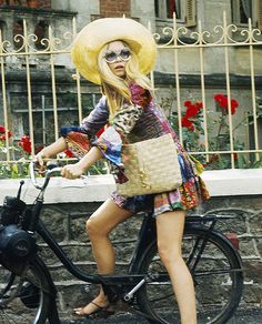 Brigitte Bardot on a bicycle in a colourful hippie mini dress and hat < HIGHLIGHTS 60' 70' 80'