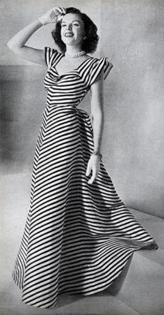 Judy Garland in VOGUE (March 15, 1945)  Striped Dress