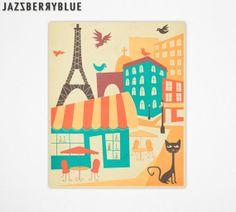 PARIS CAFE, Mid Century Style, Retro Pop Artwork, Giclee Fine Art Print, Home Decor, Wall Art