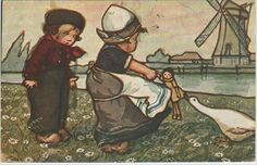 Vintage postcards of Dutch children, clogs and windmills | Vintage Postcards