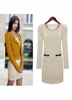 Puff-sleeved round neck lace long sleeve dress