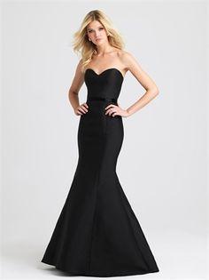 Mermaid Strapless Sweetheart Sweep Train Black Satin Prom Dress PD12122