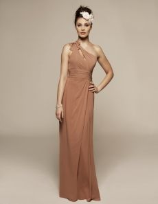 Liz Fields Bridesmaid Dresses - Style 363 Liz Fields Bridesmaid Dresses, Spring 2011.  Chiffon dress with keyhole bodice gathers into one-shoulder with bow accent. Gathered waistband accents asymmetrically shirred skirt.  Shown In: Cinnamon  Sizes: o-28  Estimated Delivery: 12-16 weeks