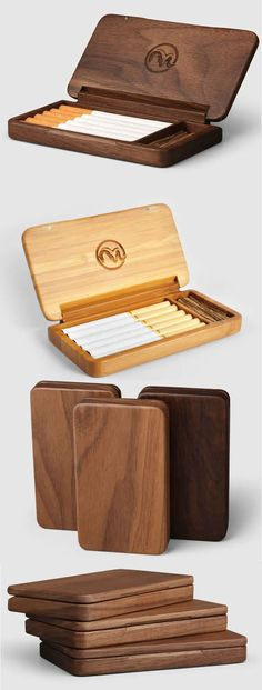 Black walnut Wooden Cigarette Case maybe for paint brushes? Small Wood Projects, Diy Wood Projects, Wooden Crafts, Diy And Crafts, Woodworking Plans, Woodworking Projects, Learn Woodworking, Cigarette Case, Cigarette Holder