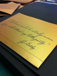 Gold is the new black this wedding season. Invite your guests in style! Vendor: Persnickety Invitation Studio Pin from DreamWeddingsPA.com