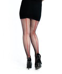 CESH1080    Fishnet with Red Back Seam    http://www.cestmoiclothing.com/tights.aspx