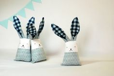 Modern baby bunny - blue bunny rabbit - personalised bunny toy - baby fabric teething toy - fabric teether - eco baby toys - linen toys by Jumatamade on Etsy