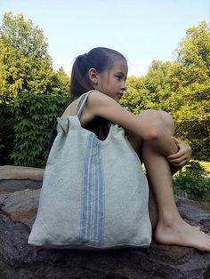 shabby.romantic / Ľanová taška Blue Stripes Linen Bag, Big Bags, Keds, Blue Stripes, Drawstring Backpack, Gym Bag, Satchel, Shabby, Purses