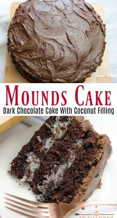 Mounds Cake A delicious dark chocolate layer cake with a creamy coconut filling and cooked chocolate frosting Delicious Cake Recipes, Yummy Cakes, Sweet Recipes, Dessert Recipes, Cake Filling Recipes, Best Cake Recipes, Dark Chocolate Cakes, Chocolate Desserts, Chocolate Frosting