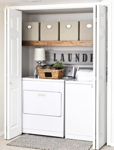 Do you want make small laundry room look like functional for home and apartement? Laundry rooms are often overlooked because you work too much at home and apartement. Here our team gave 30 Laundry Room Design Ideas. Hope you are inspired & enjoy it. Small Laundry Rooms, Laundry Room Organization, Laundry Room Design, Organization Ideas, Closet Laundry Rooms, Small Apartment Organization, Organizing, Basement Laundry, Laundry Closet Makeover