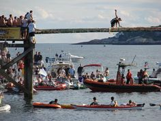 Greasy Pole Contest at the Fiesta, taken from Pavilion Beach off Commercial Street
