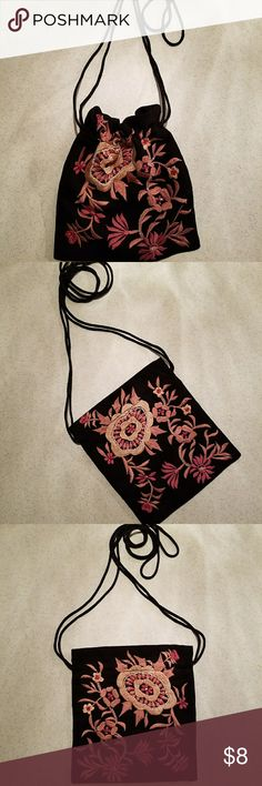 """Newport News Embellished & beaded Drawstring Purse Newport News Embellished / Beaded Drawstring Purse ,  Pink Floral design on black , 8"""" L x 8"""" H , Drawstrings measure 22"""" , 100% Polyester , Dry Clean Only , Made in India Newport News Bags Crossbody Bags"""