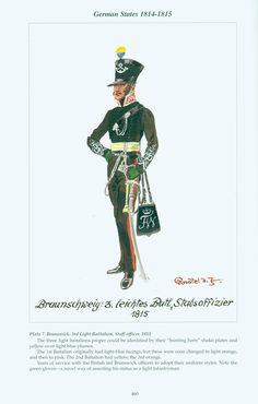 German States: Plate 7. Brunswick: 3rd Light Battalion, Staff officer, 1815