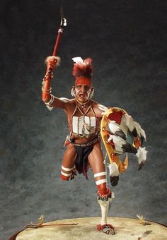 Fox Dog Soldier- The Sauk and Fox were tribes of the Algonkian of eastern Wisconsin, occupying the Mississippi River region. They were united by the 1832 Black Hawk War. They lived in the woodlands and had the advantage of surprise over their enemies. As with their Osage neighbors, their warriors adopted shaven heads and ornamental crests. As they moved to the plains, they became fierce defenders of their bison herds.