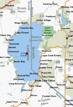 Lake Tahoe Map | Lake | Pinterest | Lake tahoe map, Lake tahoe and Lakes