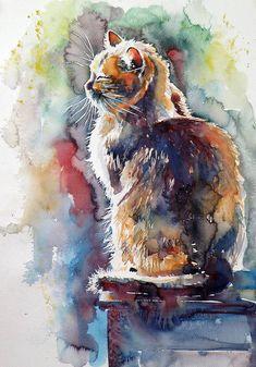Animals Watercolor, Watercolor Cat, Watercolor Paintings, Watercolours, Watercolor Ideas, Art And Illustration, Illustrations, Cat Drawing, Painting & Drawing