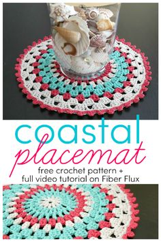 Coastal Placemat, free crochet pattern + full video tutorial on Fiber Flux Crochet Kitchen, Crochet Home, Easy Crochet, Free Crochet, Knit Crochet, Crochet Coaster, Thread Crochet, Crochet Placemat Patterns, Doily Patterns