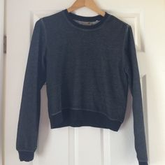 Grey crop sweatshirt Really soft and comfy pullover sweatshirt from Pacsun! it's really soft on the inside and is slightly cropped. dark charcoal color. Note: it doesn't have any stains the mirror is just dirty. willing to take other reasonable offers! will ship today! PacSun Sweaters Crew & Scoop Necks