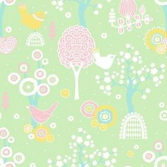 "Majvillan Wallpaper Company brings us this green children's wallpaper ""Cherry Valley"" where little birds sit on sweet dreams in a valley of flowers Non-Woven Wallpaper (paste the wall) Washable & Eco-Friendly Roll Size: x Repeat: Straight Match In-stock! Unicornios Wallpaper, Kids Room Wallpaper, Wallpaper Paste, Girl Nursery, Girl Room, Valley Of Flowers, Cherry Valley, Wallpaper Companies, Stunning Wallpapers"