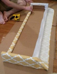 Picture of Add the Fabric Window Cornice Diy, Cornice Box, Wood Cornice, Wood Valance, Window Cornices, Valance Window Treatments, Cornice Boards, Window Coverings, Valance Ideas