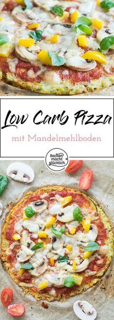 Dieses Rezept für einen Low-Carb-Pizzaboden kommt ohne Weizenmehl aus. Dafür wird die kohelnhydratarme Pizza mit Mandelmehl gebacken.