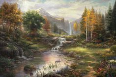 Reflections of Family Thomas Kinkade art for sale at Toperfect gallery. Buy the Reflections of Family Thomas Kinkade oil painting in Factory Price. Kinkade Paintings, Oil Paintings, Landscape Paintings, Cobblestone Walkway, Thomas Kinkade Art, Thomas Kincaid, Reflection, Canvas, Nature