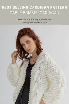 This easy jacket knitting pattern features a loose-fit cardigan with no side seams, ideal for an all-day outfit. Knitted flat in pieces (a drop-shoulder design), this chunky bomber cardigan knitting pattern will be your beloved piece during cold days and nights. This knitting pattern is a 17-page fully detailed digital knitting pattern file that includes guided instruction step by step and some helpful photos. #cablebombercardigan #cablebomberpattern #cablebomber #bombercardigan Cardigan Pattern, Jacket Pattern, Patterned Bomber Jacket, Oversized Jacket, A 17, Cold Day, Loose Fit, Outfit Of The Day, Knitting Patterns