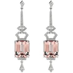 15.09ct Morganite and Diamonds Art Deco Earrings