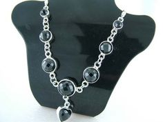 925 Sterling Silver Necklace w/ Circle and Heart Black Spinel Gems (Order)