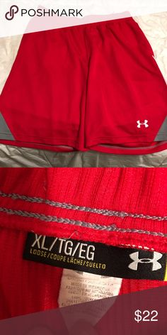 Under amour basketball shorts Red with grey on sides Size XL In good condition  Worn handful of times Under Armour Shorts Athletic