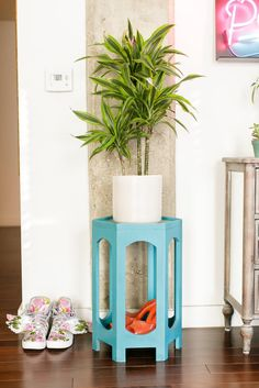 Small turquoise side table works perfectly as a plant stand in a small eclectic modern home