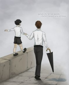 "Little Sherlock and young Mycroft fan art - ""Hold onto my hand. I don't want you to fall."""