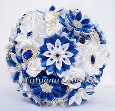 Brooch bouquet. Original handmade Wedding Bouquet in a Cornflower blue, White. Flowers made of satin ribbon, decorated with jewelry. Bouquet decorated