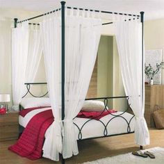 "Four Poster Bed Drapes diy +""canopy bed"" for girls -""bed canopy"" 