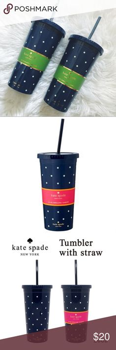 🆕   💙 Kate Spade Blue Polka Dot Tumbler ✖️ NWT ✖️ Kate Spade Blue Polka Dot Tumbler ✖️ 20 Oz Insulated ✖️ Plastic Still On Straw ✖️ Price Includes 1 Tumbler  ✖️ 15% Off 2 Items Or More kate spade Other Dot Patterns, Blue Polka Dots, Tumbler, Kate Spade, Plastic, Fashion Design, Vintage, Style, Swag