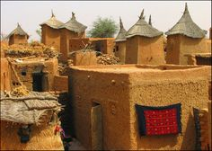Africa    A Dogon village.    The Dogon people are an ethnic group that live in the central region of Mali, as well as parts of Niger.