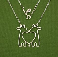 16 Giraffe Twins Necklace Sterling Silver Cable by Dragonfly65, $60.00