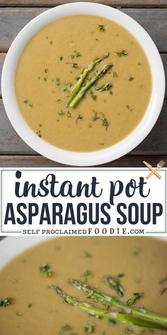 Pressure Cooker Asparagus Soup is a light and healthy spring or summer meal that takes only minutes to prepare and cook. Serve it as a meal or as a side! #asparagus #soup #creamy #instantpot #blended #pressurecooker Best Soup Recipes, Vegetable Soup Recipes, Chowder Recipes, Vegetarian Recipes, Dinner Recipes, Chili Recipes, Vegan Vegetarian, Crockpot Recipes, Crock Pot Soup