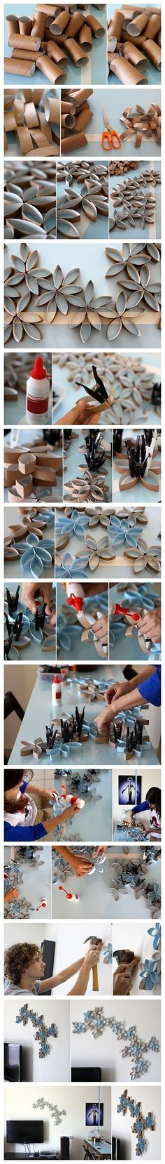How to DIY toilet paper roll wall art project | DIY Tag Toilet Paper Rolls, Toilet Paper Art, Toilet Roll Crafts, Toilet Paper Flowers, Toilet Roll Art, Paper Towel Roll Crafts, Toilet Tube, Toilet Wall, Paper Wall Decor