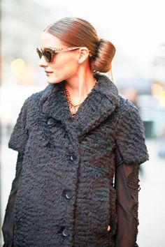 The perfect bun on Olivia Palermo #streetstyle
