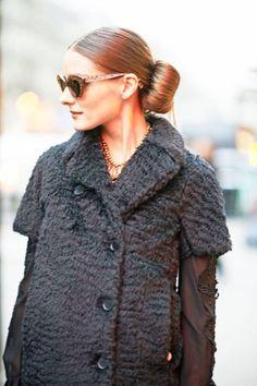 The perfect bun on Olivia Palermo #streetstyle