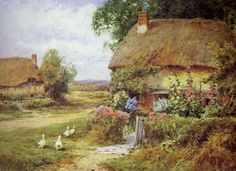 Henry John Sylvester Stannard: In a Warwickshire Byway, Little Milton Old Cottage, Cottage Gardens, Pretty Pictures, Medieval, Old Things, Oil Paintings, Cottages, Illustration, British